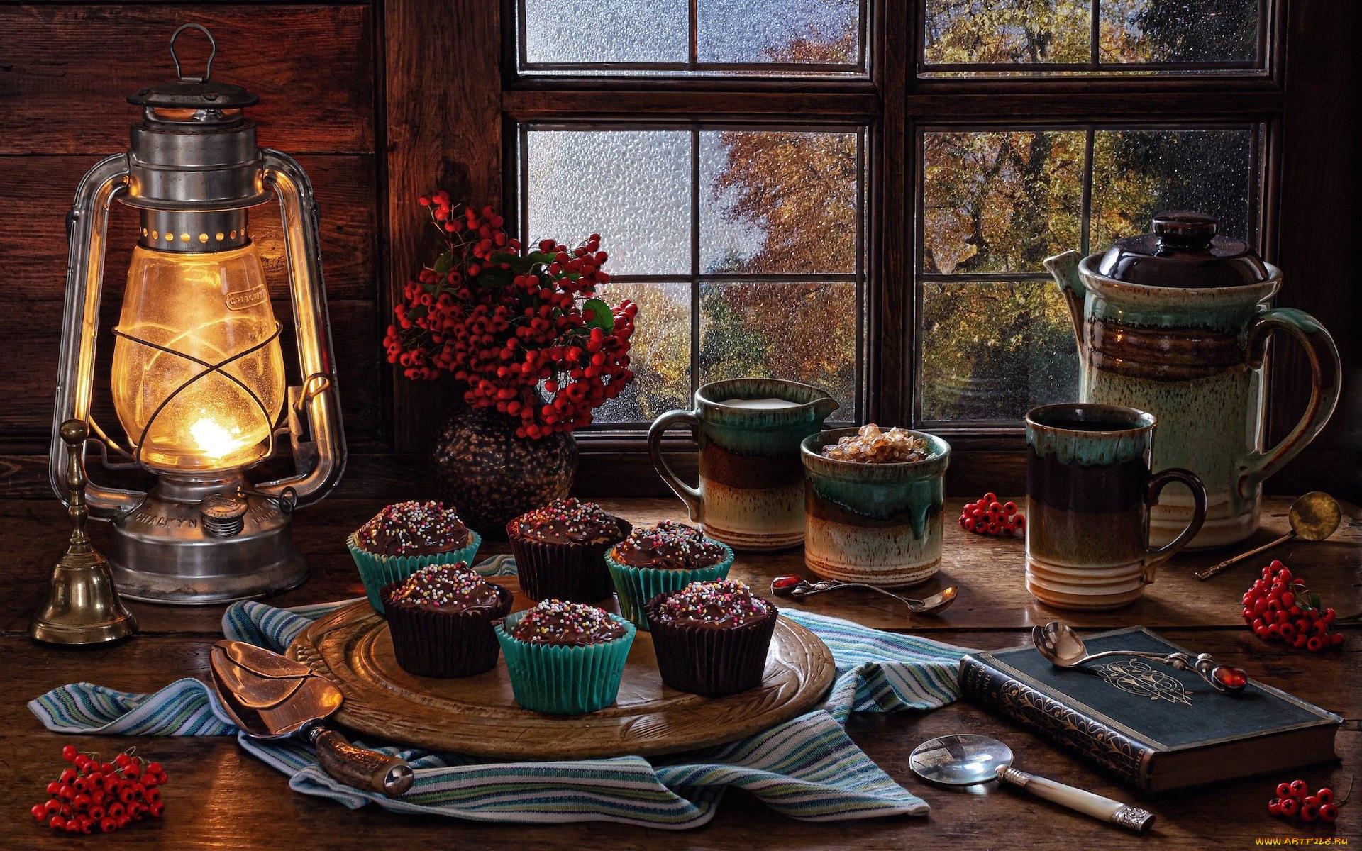 еда, натюрморт, рябина, лампа, книга, кексы